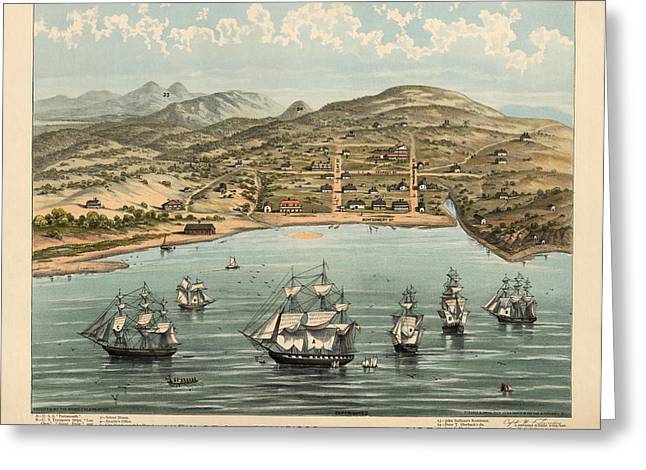 Antique Map Of San Francisco In 1846-7 Greeting Card by Blue Monocle