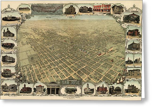 Antique Map Of San Jose California - Circa 1901 Greeting Card by Blue Monocle
