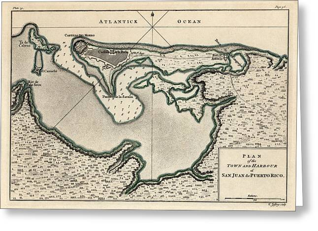 Antique Map Of San Juan Puerto Rico By Thomas Jefferys - 1768 Greeting Card by Blue Monocle
