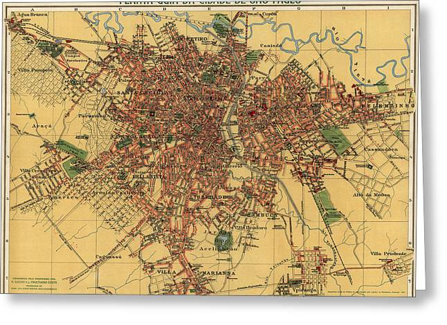 Antique Map Of Sao Paulo Brazil By Alexandre Mariano Cococi - 1913 Greeting Card