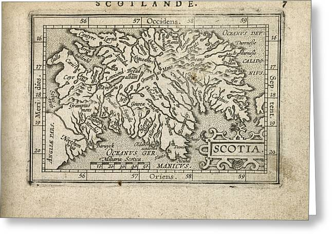Antique Map Of Scotland By Abraham Ortelius - 1603 Greeting Card