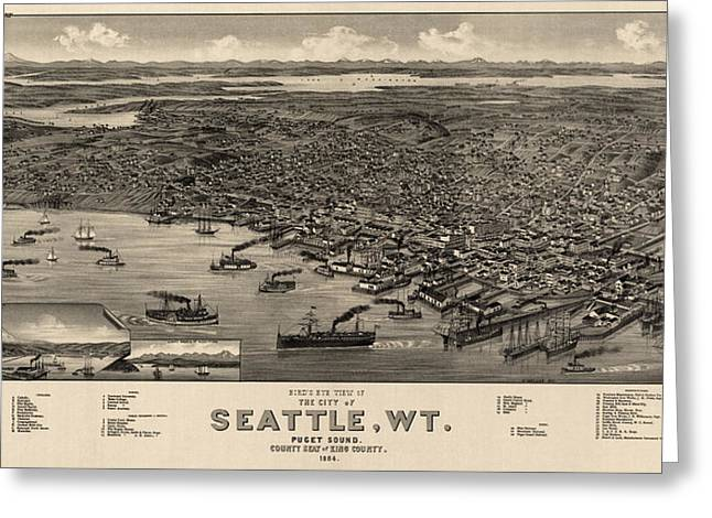 Antique Map Of Seattle Washington By H. Wellge - 1884 Greeting Card