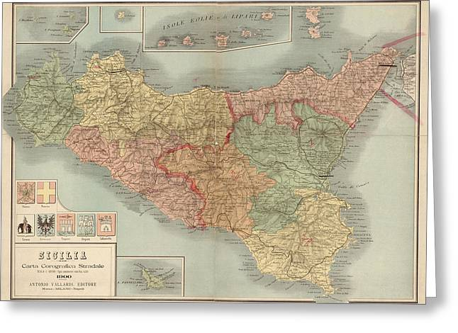 Antique Map Of Sicily Italy By Antonio Vallardi - 1900 Greeting Card by Blue Monocle
