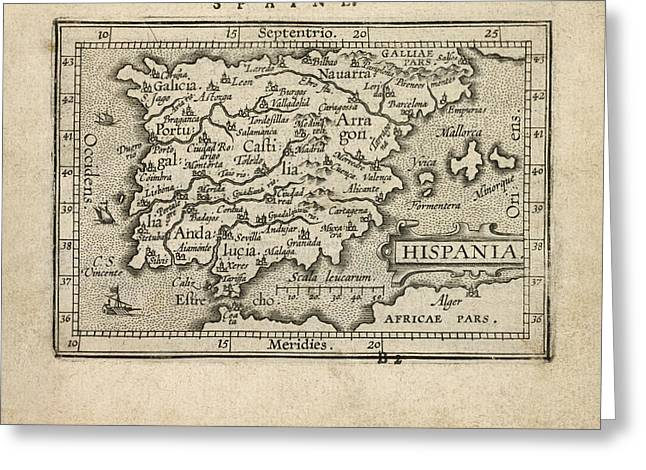 Antique Map Of Spain And Portugal By Abraham Ortelius - 1603 Greeting Card