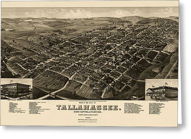 Antique Map Of Tallahassee Florida By H. Wellge - 1885 Greeting Card