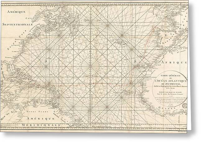 Antique Map Of The Atlantic Ocean - 1792 Greeting Card by Blue Monocle