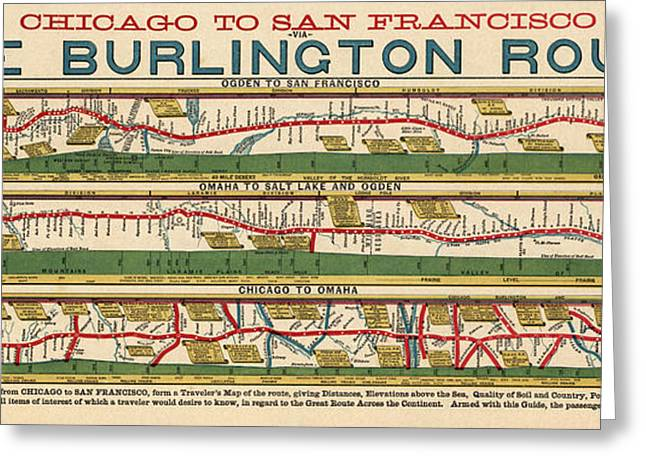 Antique Map Of The Burlington Route By H. R. Page And Co. - Circa 1879 Greeting Card