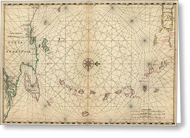 Greeting Card featuring the drawing Antique Map Of The Caribbean By Joan Vinckeboons - Circa 1650 by Blue Monocle