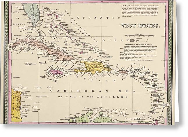 Antique Map Of The Caribbean By Samuel Augustus Mitchell - 1849 Greeting Card