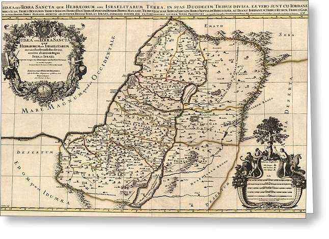 Antique Map Of The Holy Land By Alexis Hubert Jaillot - 1696 Greeting Card by Blue Monocle