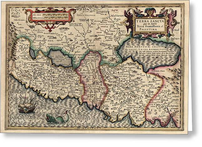 Antique Map Of The Holy Land By Guillaume Delisle - 1782 Greeting Card