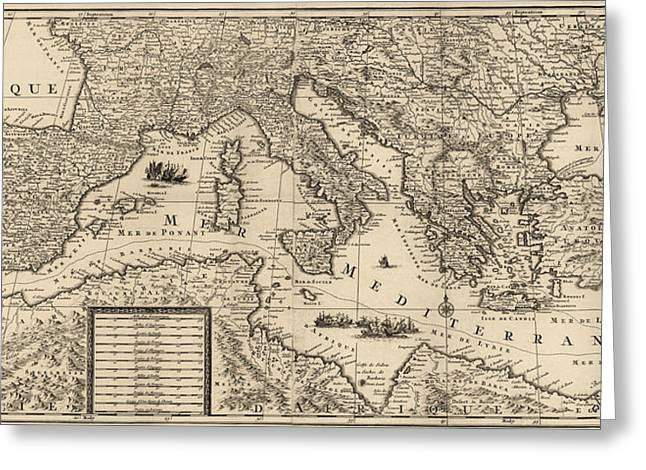 Antique Map Of The Mediterranean By Guillaume Sanson - Circa 1680 Greeting Card by Blue Monocle