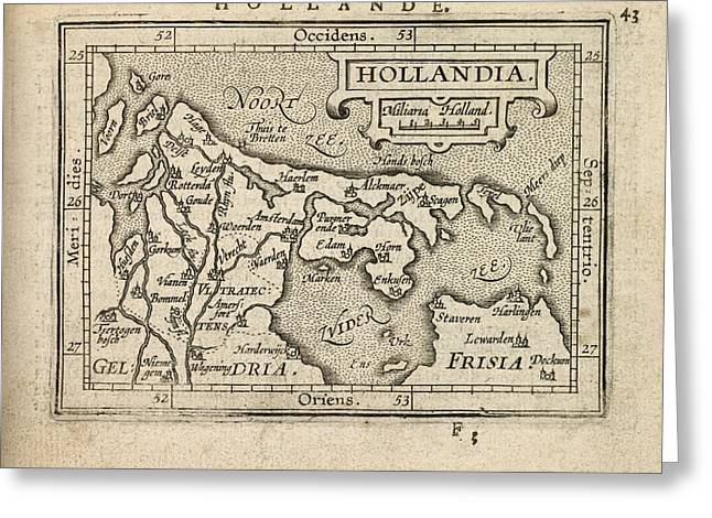 Antique Map Of The Netherlands By Abraham Ortelius - 1603 Greeting Card
