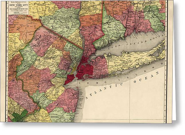 Greeting Card featuring the drawing Antique Map Of The New York City Region By Rand Mcnally And Company - 1908 by Blue Monocle