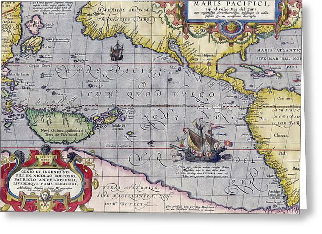 Antique Map Of The Pacific Ocean Greeting Card