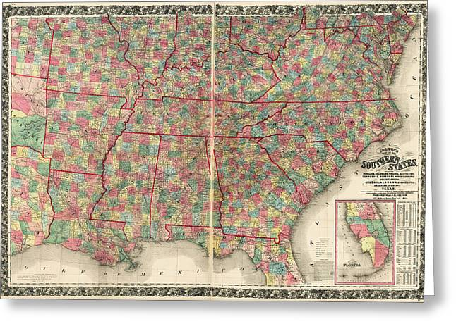 Antique Map Of The Southeast Us By Joseph Hutchins Colton