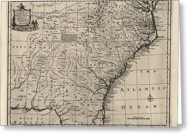 Antique Map Of The Southern American Colonies By Emanuel Bowen - 1752 Greeting Card by Blue Monocle