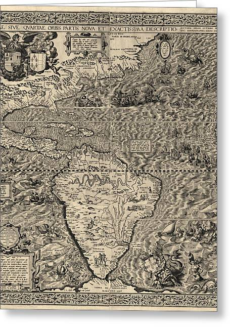 Antique Map Of The Western Hemisphere By Diego Gutierrez - 1562 Greeting Card by Blue Monocle