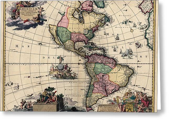Antique Map Of The Western Hemisphere By Gerard Van Keulen - Circa 1710 Greeting Card
