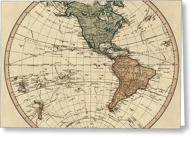 Antique Map Of The Western Hemisphere By William Faden - 1786 Greeting Card by Blue Monocle