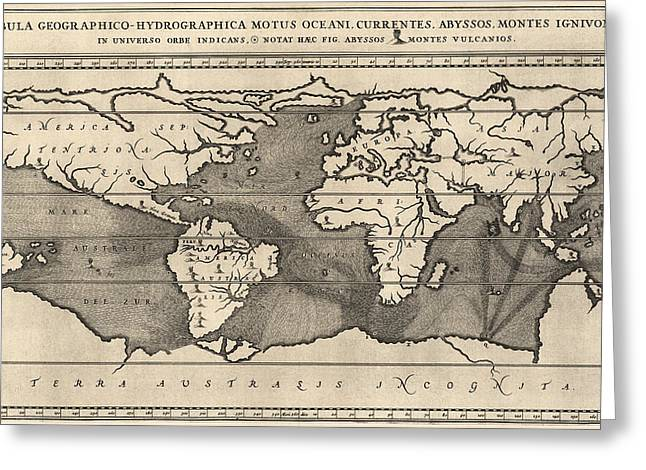 Antique Map Of The World By Athanasius Kircher - 1668 Greeting Card