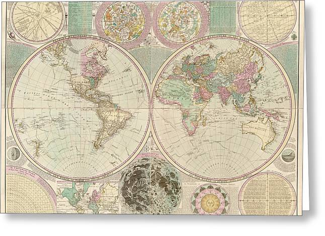 Antique Map Of The World By Carington Bowles - Circa 1780 Greeting Card by Blue Monocle