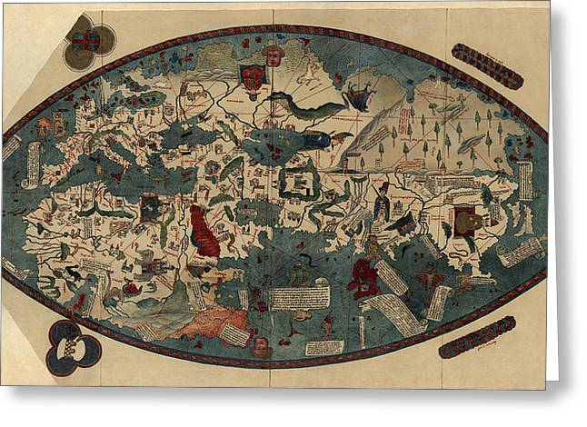 Antique Map Of The World By Paolo Del Pozzo Toscanelli - Circa 1450 Greeting Card