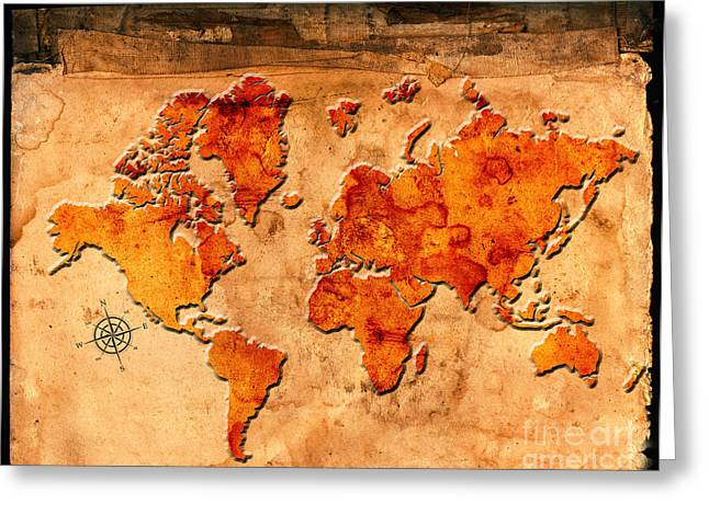 Antique Map Of The World Greeting Card by Lane Erickson