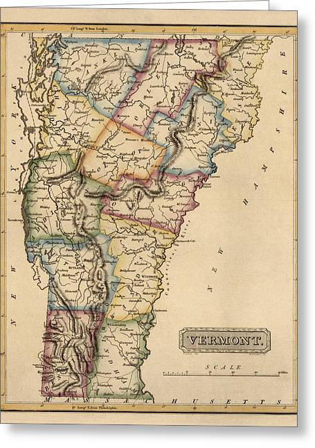 Antique Map Of Vermont By Fielding Lucas - Circa 1817 Greeting Card