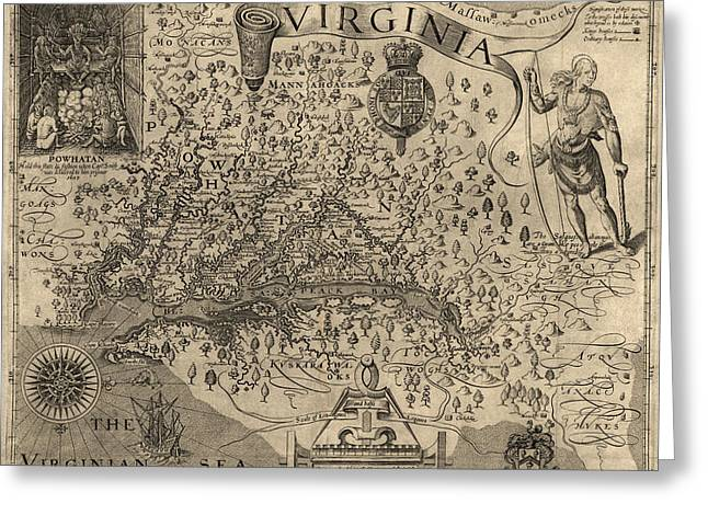 Antique Map Of Virginia And Maryland By John Smith - 1624 Greeting Card by Blue Monocle