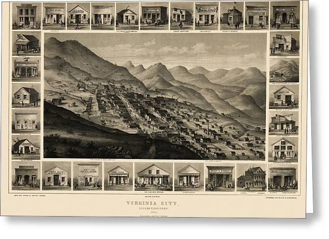 Antique Map Of Virginia City Nevada By Charles Conrad Kuchel - 1861 Greeting Card