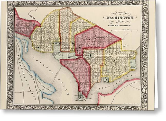 Antique Map Of Washington Dc By Samuel Augustus Mitchell - 1863 Greeting Card by Blue Monocle