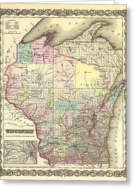 Antique Map Of Wisconsin 1855 Greeting Card