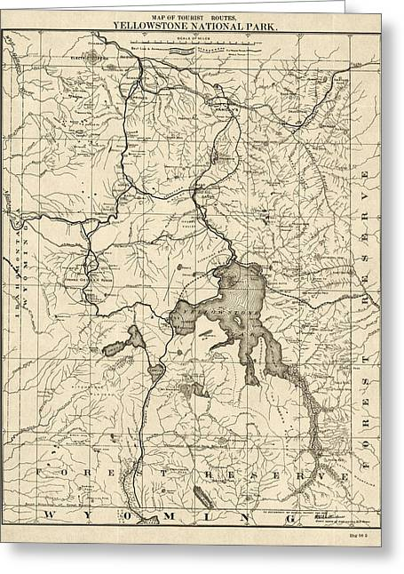 Antique Map Of Yellowstone National Park By The U. S. War Department - 1900 Greeting Card