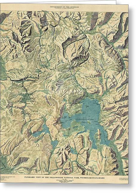 Antique Map Of Yellowstone National Park By The Usgs - 1915 Greeting Card