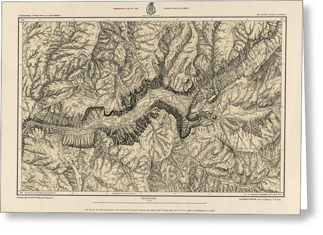Antique Map Of Yosemite National Park By George M. Wheeler - Circa 1884 Greeting Card by Blue Monocle