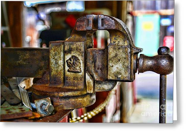 Antique Monarch Cast Iron Bench Vise  Greeting Card by Paul Ward