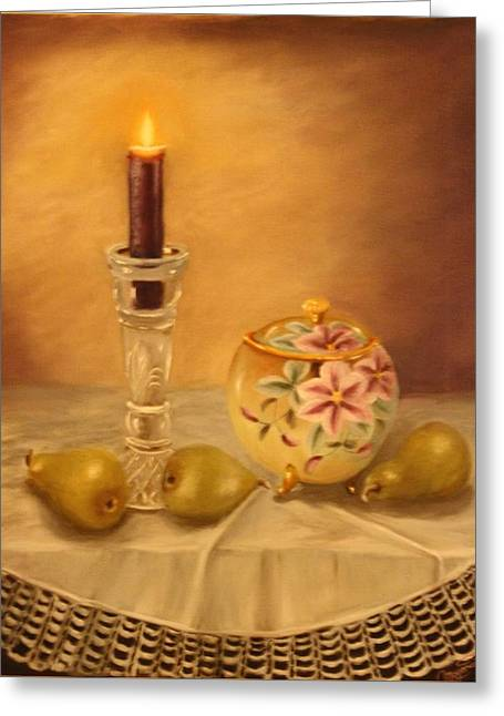 Antique Nippon In Candle Light Greeting Card