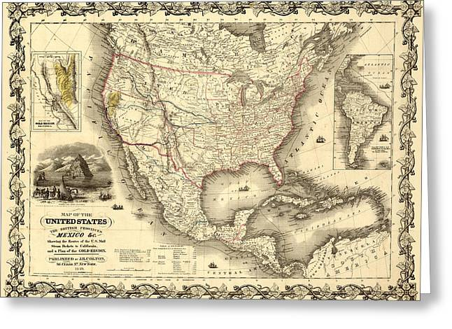 Antique North America Map Greeting Card
