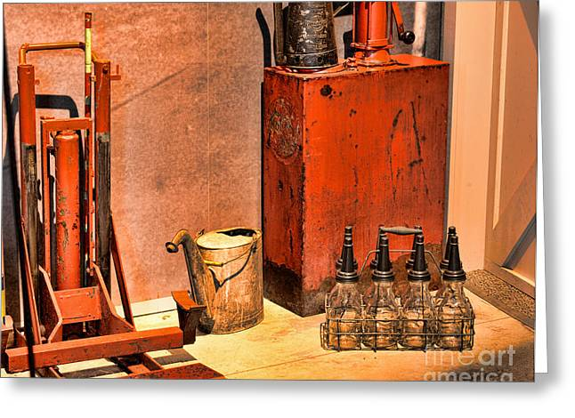 Antique Oil Bottles Greeting Card by Paul Ward