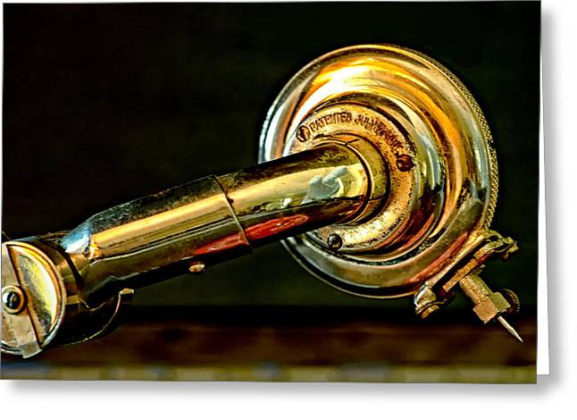 Greeting Card featuring the photograph Antique Phonograph Tonearm by Stephen Anderson