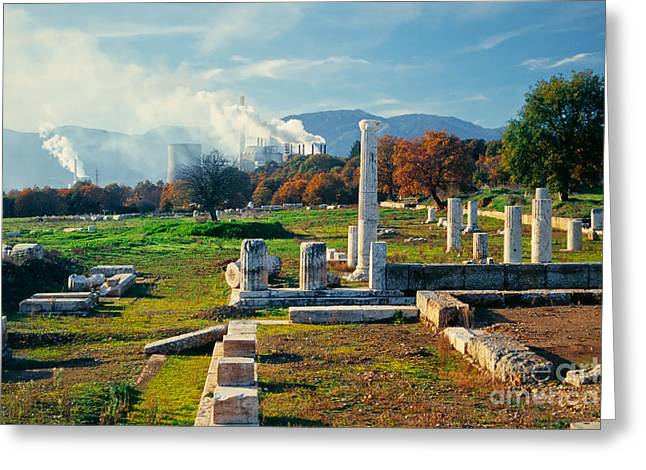 Antique Pillars And Power Plant Megalopoli Greece Greeting Card by Stephan Pietzko