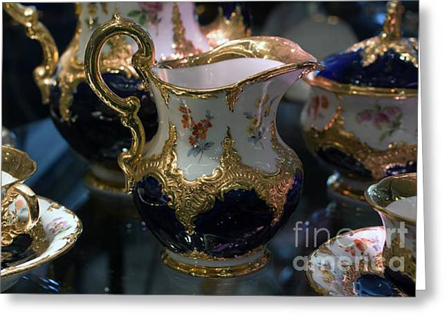 Greeting Card featuring the photograph Antique Porcelain Coffee Set In Show Case by Gunter Nezhoda