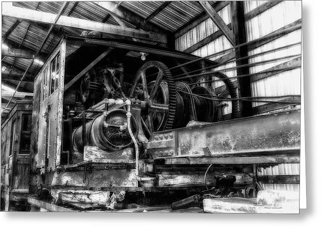 Antique Railroad Crane Black And White Greeting Card by Thomas Woolworth
