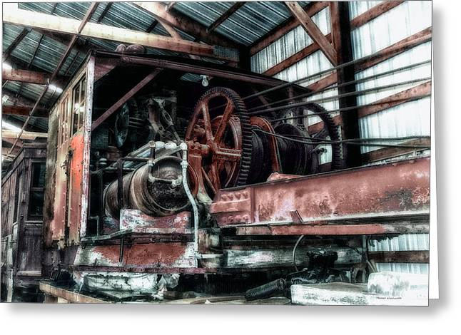 Antique Railroad Crane Greeting Card by Thomas Woolworth
