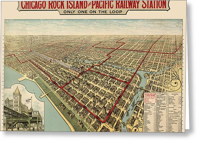 Antique Railroad Map Of Chicago - 1897 Greeting Card by Blue Monocle