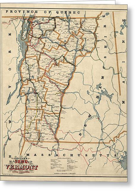 Antique Railroad Map Of Vermont By Coffin - 1896 Greeting Card