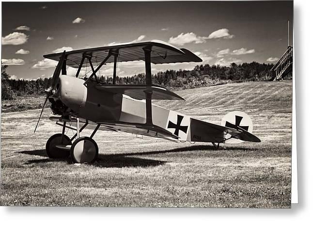 Antique Red Barron Fokker Dr.1 Triplane Greeting Card by Keith Webber Jr