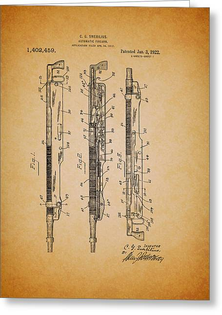 Antique Remington Automatic Firearm Patent 1922 Greeting Card by Mountain Dreams