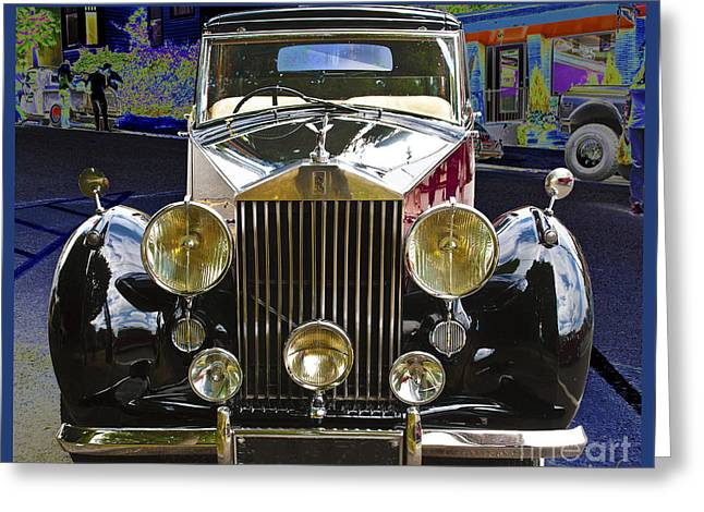 Greeting Card featuring the digital art Antique Rolls Royce by Victoria Harrington